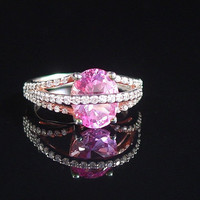Crossover Ring, Pink CZ, Sterling Silver, Size 6, Designer QVC, 925 Ring, Cocktail Ring, Estate Jewelry, Pink Ring, Silver Ring, Mothers Day