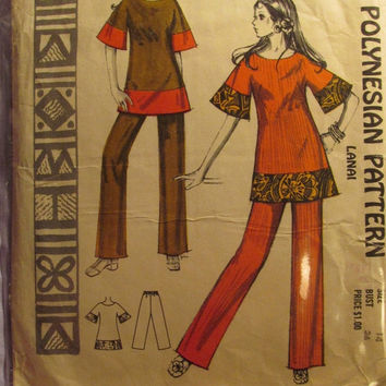 Sale Uncut/Cut 1960's Polynesian Pattern, 209! Size 14 Bust 36/Medium/Lanai/Hawaii Patterns/Flare Sleeve Loose Fitting Tops/Bell Bottom Pant