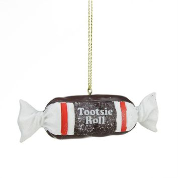 "1"" Candy Lane Tootsie Roll Original Chewy Chocolate Candy Christmas Ornament"