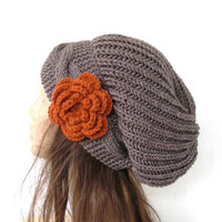 Hand Knit Hat- Womens hat - chunky knit Slouchy Beanie  Slouch  Hat Flower  Winter Accessories knitted beret taupe Autumn Fashion