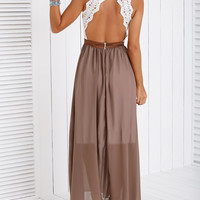 Backless Lace Spliced Maxi Dress