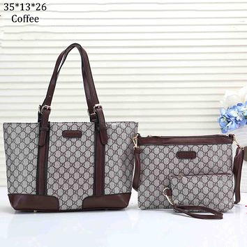 GUCCI 2018 new classic double G printing canvas color matching handbag shoulder bag Messenger bag three-piece coffee