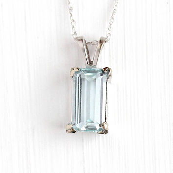 Estate Aquamarine Necklace - 10k White Gold Blue Genuine Gemstone Pendant - Vintage Emerald Cut 1.19 Carat Fine March Birthstone Jewelry