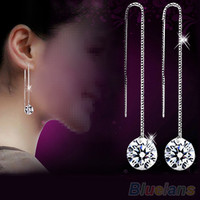 925 Sterling Silver Drop Dangle Chain Earrings