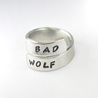 Bad Wolf, Doctor Who Inspired Twist Wrap Ring, Whovian Jewelry, Hand Stamped Aluminum Adjustable Ring, Dr. Who Ring, Custom Gift