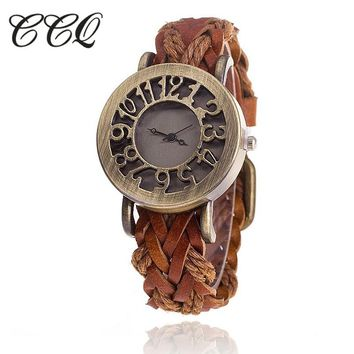 New Stylish Braided Leather Bracelet Watch
