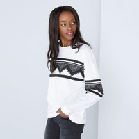 White Geometric Patterned Sweater