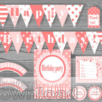 peach pink Happy Birthday printable party pack, invitation, welcome sign, banner, party circle, thank you tags, cupcake wrapper, tent card