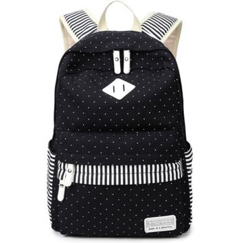 Black Polka Dots Printed Backpack Canvas Travel Bag