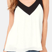 Color Block Spaghetti Strap Chiffon Tank Top