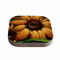 "Cyndi Steen ""Sunflower Days"" Yellow Floral Coasters (Set of 4)"