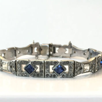 Art Deco Paste Bracelet Sapphire Blue Clear Crystal Rhinestone Silver Tone Antique Bangle Vintage Wedding Bridal Jewelry 1920s Gift for Her