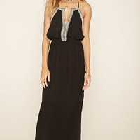 Embroidered M-Slit Maxi Dress
