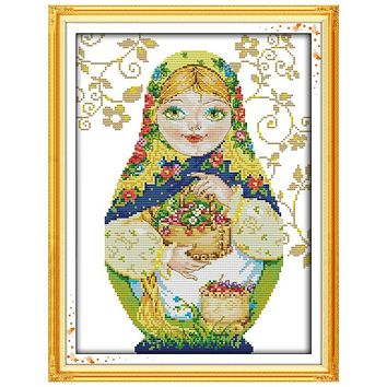 Yellow Russian Doll(8) Patterns Counted Cross Stitch 11 14CT Cross Stitch Sets Chinese Cross-stitch Kits Embroidery Needlework