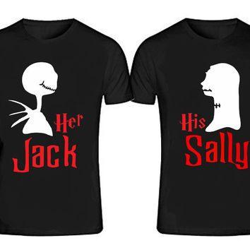 Her JACK - His SALLY T-shirts + Your NAMES or another text on the back