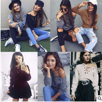 Women's autumn winter bandage sexy slim off Shoulder strappy v-Neck Sweatshirt a13556
