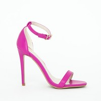 Missguided - Clara Purple Leather Strappy Sandals