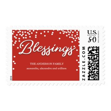 Simple Red Bokeh Blessings Religious Christmas Postage