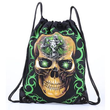 DCCKHY9 Skull Skeleton Gym Bags New Swimming And Sports Drawstring Bags European Men And Women Beach Backpack Shoes Bag