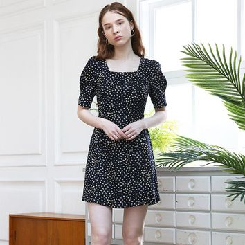 [SALON DE YOHN] Dot Puff Shoulder Dress_Navy