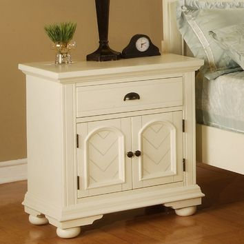 Brook 1 Drawer 2-Door Nightstand - Cottage White | www.hayneedle.com