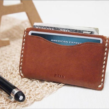 Personalized Handmade Leather Money Card Holder