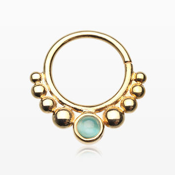 Golden Mystic Grandiose Cat Eye Stone Septum Twist Loop Ring