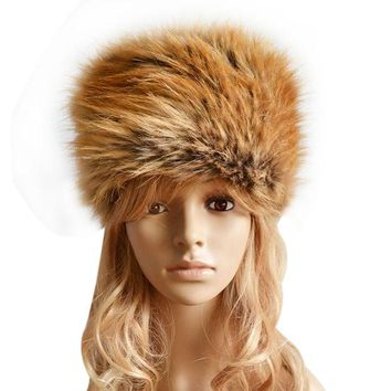 DCCKJG2 Fancy Fashion Russian Lady Faux Rabbit Fur Knitted Cap Women Winter Warm Beanie Hat Female Fur Caps Ladies Headgear Gorra F1