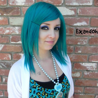 BLACK FRIDAY SALE // Medium Straight Layered Wig - Beautiful Luscious Hair, Teal Wig, Cosplay Wig, Costume Wig, Blue Green