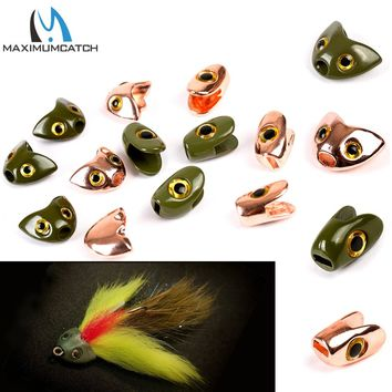 Maximumcatch Fly Tying Fish Skull Head 12.2*9.4 11.7*7.3mm Fly Fishing Tying Beads Dark Green/Copper Fly Tying Material
