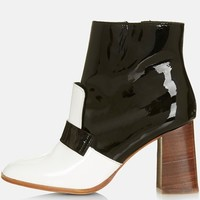 "Women's Topshop 'Pop Message' Leather Ankle Boots (Brit Pop-In), 3 1/2"" heel"