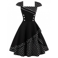 Buttoned Polka Dot Vintage Corset Dress