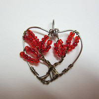 Red Heart Shape, Tree of Life Valentines Day Wire Wrap pendant Necklace