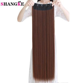 80cm 100cm Long Straight Women Clip in Hair Extensions Heat Resistant Synthetic Hair Piece  Hairstyle SHANGKE