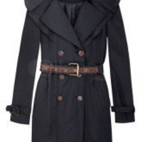Black Double-Breasted Ruffles Belt Womens Outerwear -  Milanoo.com
