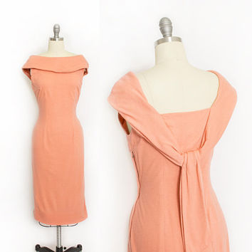 Vintage 1960s Dress - Melon Wool Knit Fitted Pin Up Wiggle Day Dress 60s - Medium M