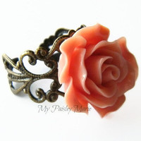 Rose Statement Ring, Cocktail Ring, Bridesmaid Ring, Prom Jewelry, Vintage Look Filigree Ring