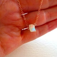 Natural Rough Opal Pendant and 14k Rose Gold Fill Necklace