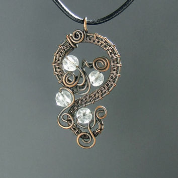 Rock crystal necklace - rustic copper pendant  statement wire wrapped antiqued necklace