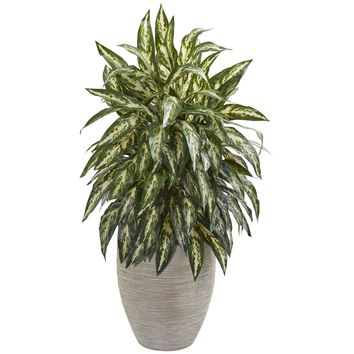 Artificial Plant -Aglonema Plant with Sand Colored Planter