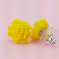SALE (20% OFF!) Buy 2 Pairs/get 3rd FREE! Sunny Bright Yellow Rose Post Earrings