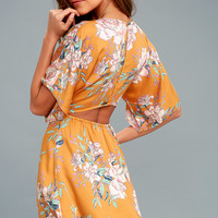 Golden Light Golden Yellow Floral Print Dress
