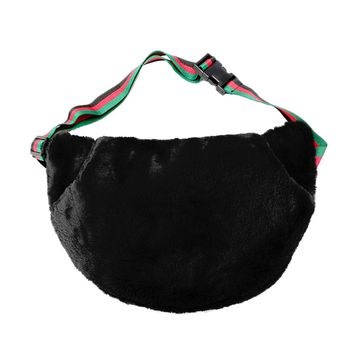 Black Half Moon Adjustable Zipper Pocket Fur Fanny Pack