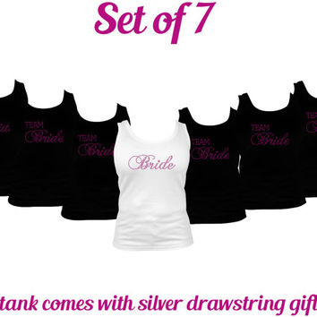 Set of 7 - Team Bride tank tops,  bridesmaid tank top,  Maid of Honor tank top, bridesmaid gifts, personalized tank top, bridal party tank