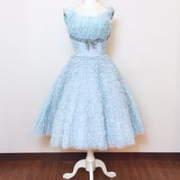 1950s Vintage Dress / 50s Prom Dress / Cupcake / Pastel Blue / Ruffles / Lace Velvet