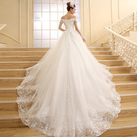 Vestido de Novia Princess white/ivory Lace Embroidery Beading Luxury Long Royal Train Plus Size Wedding Dress