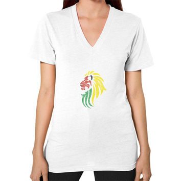 Lion Reggae Music Flag Colors V-Neck (on woman)