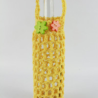 Flowery Sunny Yellow Wine or Water Bottle Tote / Gift bag