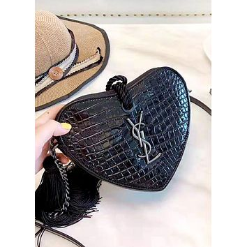 Free shipping-YSL 2019 new female crocodile embossed clutch Black