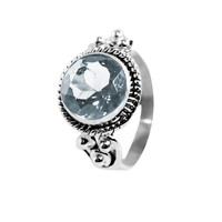 Divya 10mm Cushion Cut Natural Crystal 925 Sterling Silver Ring